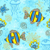 Pattern with fishes and shells Stock Photography