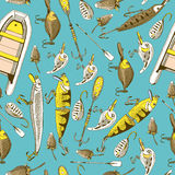 Pattern with fishing elements Stock Photo