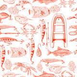 Pattern with fishing elements Royalty Free Stock Image
