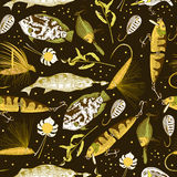 Pattern with fishing elements Stock Image