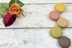 Multicoloured macaroons with roses on a white wooden background. Pattern of five multicoloured macaroons with roses on a white wooden background with copy space Stock Photography