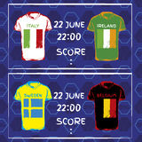 Pattern, flags, date and time for football championship. n Stock Image