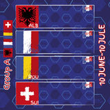 Pattern, flags, date and time for football championship. NA soccer ball pattern and a Austria, Hungary, Portugal and Island flag. Group A.n Stock Photography
