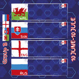 Pattern, flags, date and time for football championship. NA soccer ball pattern and a Austria, Hungary, Portugal and Island flag. Group B.n Stock Photo