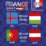 Pattern, flags, date and time for football championship. NA soccer ball pattern and a Austria, Hungary, Portugal and Island flag. Group F.n Group Stage MD-2 Royalty Free Stock Photo