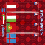 Pattern, flags, date and time for football championship. NA soccer ball pattern and a Austria, Hungary, Portugal and Island flag. Group F.n Stock Images