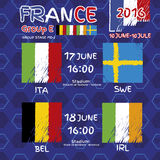 Pattern, flags, date and time for football championship. NA soccer ball pattern and a Austria, Hungary, Portugal and Island flag. GroupE.n Group Stage MD-2 Royalty Free Stock Photography