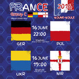 Pattern, flags, date and time for football championship. RA soccer ball pattern and a Austria, Hungary, Portugal and Island flag. Group F.r Group Stage MD-1 Royalty Free Stock Photos
