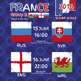 Pattern, flags, date and time for football championship. RA soccer ball pattern and a Austria, Hungary, Portugal and Island flag. Group F.r Group Stage MD-1 Stock Photos