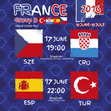 Pattern, flags, date and time for football championship.  Royalty Free Stock Image