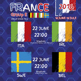 Pattern, flags, date and time for football championship.  Stock Photo