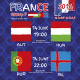 Pattern, flags, date and time for football championship.  Stock Images