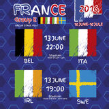 Pattern, flags, date and time for football championship.  Stock Photos