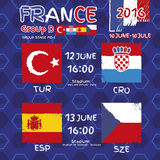 Pattern, flags, date and time for football championship.  Royalty Free Stock Photos
