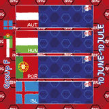 Pattern, flags, date and time for football championship.  Stock Photography