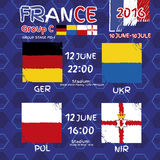 Pattern, flags, date and time for football championship.  Royalty Free Stock Images