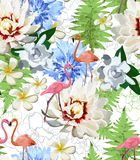 Pattern of flamingos and exotic flowes Stock Photo
