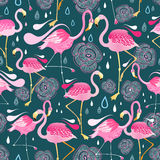 Pattern with flamingos. Graphic seamless pattern with bright flowers and flamingos against a dark background Royalty Free Stock Images