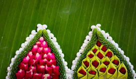 Pattern of floating basket by banana leaf for Loy Kratong. Pattern of floating basket by banana leaf, krathong for Loy Kratong Festival, river goddess worship royalty free stock images