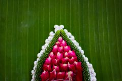 Pattern of floating basket by banana leaf for Loy Kratong Festival, river goddess worship ceremony, the famous festival. Pattern of floating basket by banana royalty free stock photo