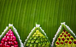 Pattern of floating basket by banana leaf for Loy Kratong. Pattern of floating basket by banana leaf, krathong for Loy Kratong Festival, river goddess worship royalty free stock image