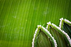 Pattern of floating basket by banana leaf for Loy Kratong. Pattern of floating basket by banana leaf, krathong for Loy Kratong Festival, river goddess worship stock photography