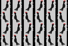 Pattern with a flock of woodpeckers on trees. Stock Photo