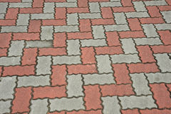 Pattern On The Floor. Floor With Tessellation Of Red And Grey Color Brick Stock Image