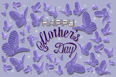 Happy mothers day hand lettering card illustration royalty free illustration