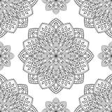 Pattern with floral mandalas. Stock Photos