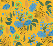 Pattern floral yellow Royalty Free Stock Photos