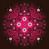 Pattern with flower. And heart Royalty Free Stock Photos