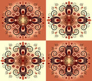 Pattern with flower. On square background Royalty Free Stock Photography