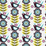 Pattern flower bird Royalty Free Stock Photos