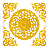 Pattern of flower carved  for decoration isolated on white Royalty Free Stock Photos