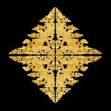 Pattern of flower carved frame on black background royalty free stock images