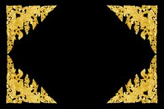 Pattern of flower carved frame on black background royalty free stock photography