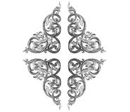 Pattern of flower carved frame on white Royalty Free Stock Image