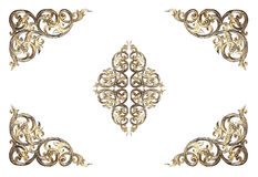 Pattern of flower carved frame on white Stock Photography