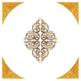 Pattern of flower carved frame on white Royalty Free Stock Images