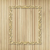 Pattern of flower carved frame on wood Royalty Free Stock Image