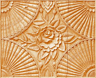 Pattern of flower carved on wood Royalty Free Stock Photography