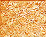 Pattern of flower carved on wood Stock Images