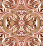 Pattern of flower carved on wood Stock Photography