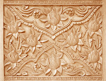 Pattern of flower carved on wood background Royalty Free Stock Image