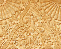 Pattern of flower carved on wood Royalty Free Stock Images