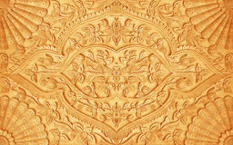 Pattern of flower carved on wood Stock Image