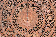Pattern of flower carved on wood background Royalty Free Stock Photo