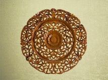 Pattern of flower carved on wood vintage background Stock Images