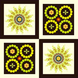 Pattern flower circle on square background Royalty Free Stock Photography